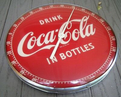 "1950's Coca-Cola 12"" round ""In Bottles"" thermometer"
