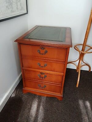 Antique Style 2 Drawer Filing Cabinet With Green Leather Detail And Key
