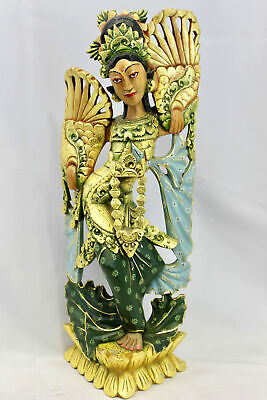 Balinese Peacock Dancer Sculpture Hand Carved & Painted Wood Statue Bali Art