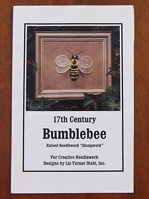 CREATIVE NEEDLEWORK DESIGNS - 17th CENTURY BUMBLEBEE RAISED NEEDLEWORK STUMPWORK