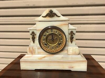 Antique Clock Waterbury Clock Company Marble Or Onyx Base