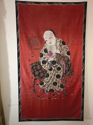 Chinese Antique Kesi Silk Embroidery Panel Textile Tapestry C 19th/20th -SIGNED-
