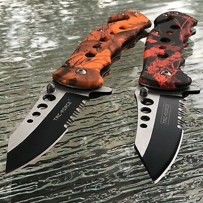 2 x Tac Force Spring Assisted Tactical Folding Camo Knife Pocket Open Assist