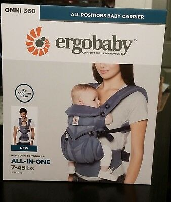 ErgoBaby 'OMNI 360 Cool Air' Newborn Infant Toddler Baby Carrier Oxford Blue