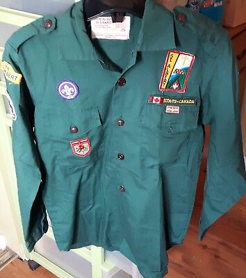 Vintage Boy Scouts Canada Shirt with Badges Size Boys 13