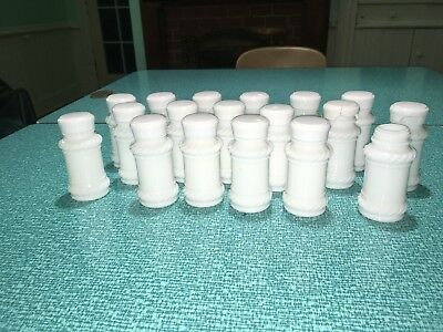18 Vintage White Milk Glass Spice Jars Swirl, Rope, Scroll Design; Decal Project
