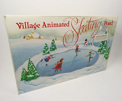DEPARTMENT 56 VILLAGE ANIMATED SKATING POND 5229-9 w/ 6 FIGURES, 7 TREES, BIRCH