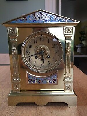 Samuel Marti Antique French Brass and Enamel Mantle Clock, French circa. 1900.