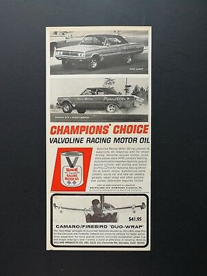 1967 Valvoline Racing Motor Oil Dick Landy - Sox & Martin - Original Vintage Ad