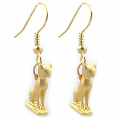 "Gold Finish Egyptian Goddess Bastet Tiny Cat Earrings 1 1/4"" Tall  x  3/8"" Wide"