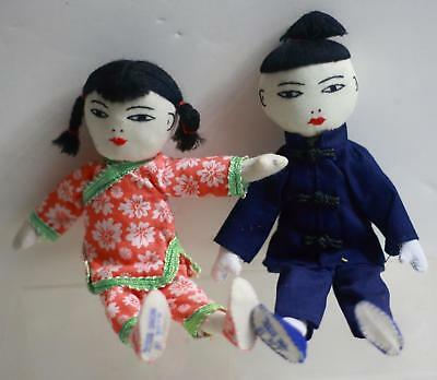 2- Vintage Hand Made Cloth Children  Dolls- Made In Hong Kong- Excellent Set