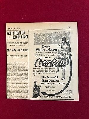 "1913, Coca- Cola, ""Walter Johnson"" Display Advertisement (Scarce)"
