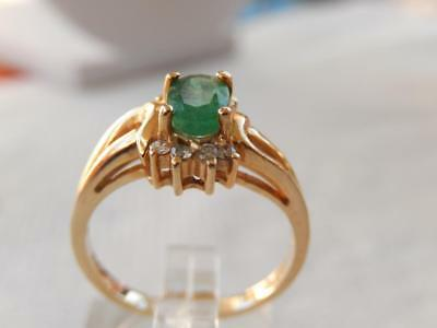 14k Natural EMERALD & DIAMOND RING Sz 5 1/2 yg VINTAGE MINT