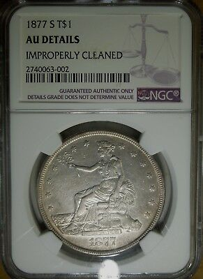 1877-S $1 Silver Trade Dollar NGC AU details cleaned rare old type coin money