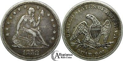 1858 25c Seated Liberty Silver Quarter EF XF original rare old type coin money