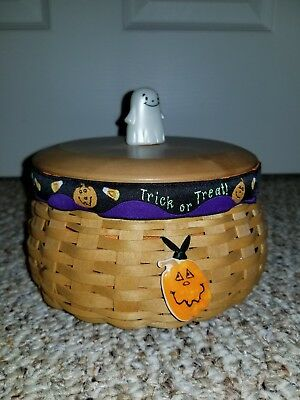 Longaberger 2004 Small Happy Halloween Pumpkin Basket Combo with liner ghost