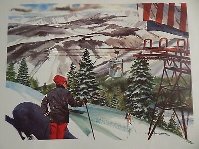 UNITED AIRLINES VAIL CO Snow Skiing Travel Poster ALBERT HOLLENBECK Print