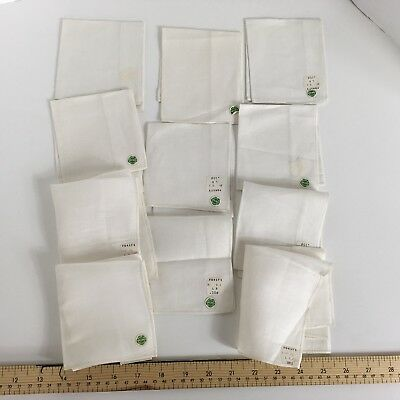 10 Irish Linen Handkerchiefs Vintage New With Tags White ivory cream