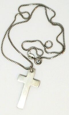"""Vintage Plain Sterling Silver 1.5"""" Cross with 16"""" Chain Necklace"""