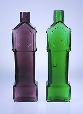 Clevenger Brothers glass Pair of Grandfather Clock Bottles South Jersey