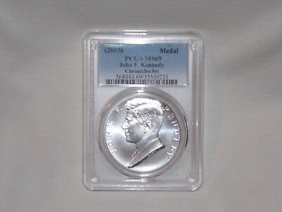 2015-PCGS MS69 John F. Kennedy Silver Medal From The Chronicle Set