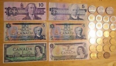 $63 Canadian Dollars Loonie Toonie Bank of Canada Notes $10 $5 $1