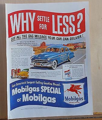 1951 magazine ad for Mobil - Why Settle, Mobilgas Economy run LA to Grand Canyon