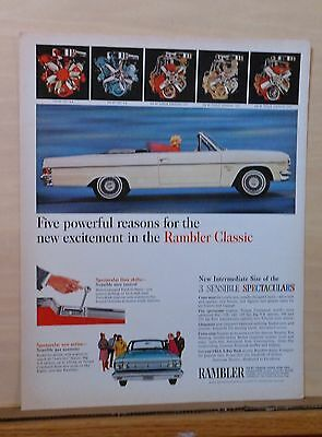 1965 magazine ad for Rambler - Classic convertible, 5 different engines