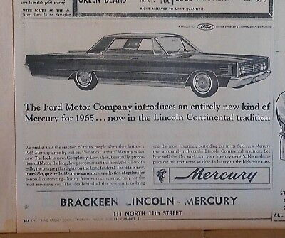 1964 newspaper ad for Mercury - In the Lincoln Continental Tradition, 1965 model