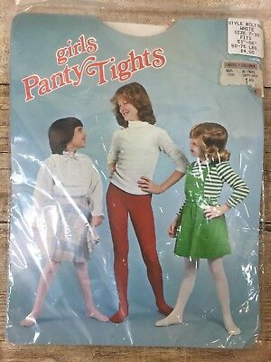 Girls Panty Tights Vintage Pink Hearts White Tights Made in USA Size 7-10
