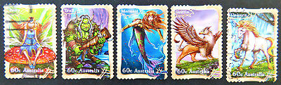 Aust Decimal Stamps:2011 Stamp Collecting Month:Mythical Creatures-Set5-P&S Used