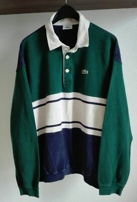 Polo LACOSTE a Righe Shirt Striped Jacket Vintage size XL (E36)