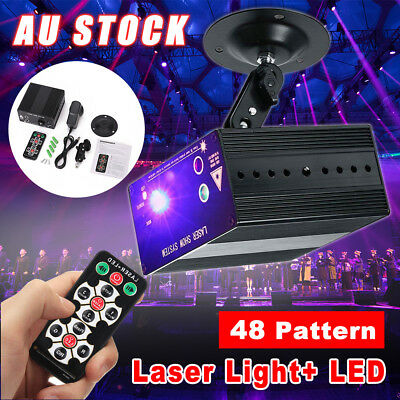 48 Pattern Laser Projector Stage Effect Lights Mini LED RGB Lighting Disco KTV