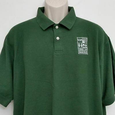 LL Bean Mens Polo Shirt XL Green Short Sleeve 100% Cotton Embroidered