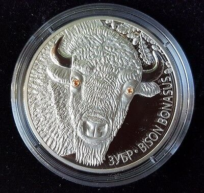 Belarus 20 Roubles 2012 Wildlife European Bison 1 Oz Silver