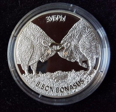 Belarus 20 Roubles 2012 Wildlife European Bisons 1 Oz Silver