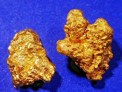 Two Sparkling Clean Australian Gold Nuggets ( 1.42 grams ).