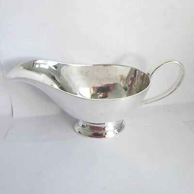 Vintage Heavy Quality  Silver Plate  Sauce  Gravy Boat On Pedestal Base Gleaming