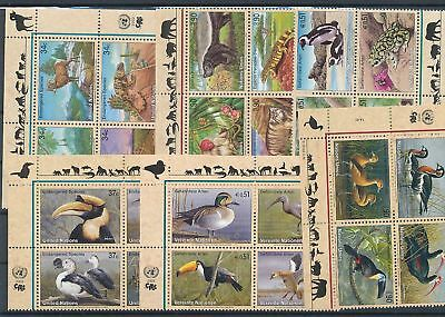 39214/ UNO NY , Wien, Genf ** MNH Lot / Mixture 4er Blocks Fauna Tiere Animals