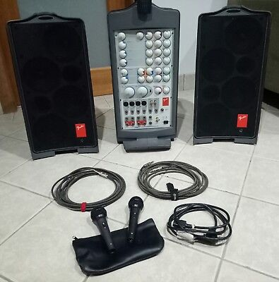 fender passport portable PA system with mixer speakers power amp + microphones