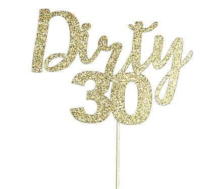 Silver Glitter Dirty 30 Cake Topper Thirty Sign Happy 30th Birthday Party Decorations Supplies INNORU