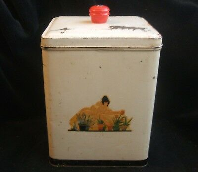 Vintage Nesco Large Off White Red Tin Lady Gardening Canister Lid 8 Inches Tall