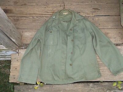 WWII WOMANS US Army HBT Button Shirt NAMED
