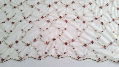 """Vintage Pair of Curtain Panels 55"""" x 84"""" Sheer Ivory Rose French Shabby Chic"""