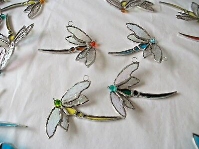 4 x stained glass handmade dragonfly's suncatcher / window decoration