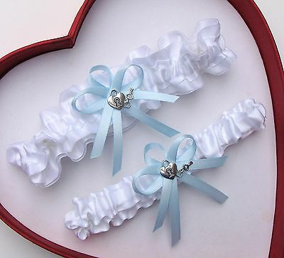 NEW Gorgeous White Light Blue Wedding Garter Prom Homecoming Heart And Key