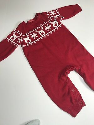 Baby Girl  Boy 3-6M One Piece Romper Red White Holiday So Soft!!