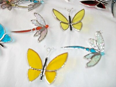 stained glass handmade 2 x dragonfly's 2 x butterfly's suncatcher