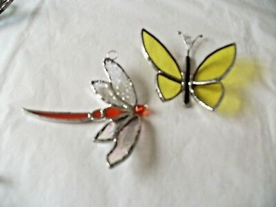 stained glass handmade 1 x dragonfly's 1 x butterfly's suncatcher