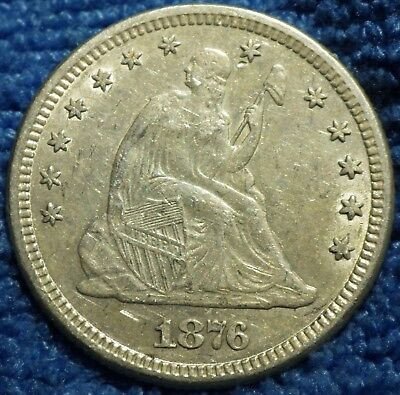 1876 Seated Liberty Quarter grading AU Details Cleaned